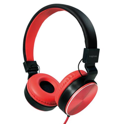 LogiLink Faltbare Stereo Kopfhörer, rot