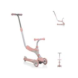 Byox Dreirad Kinderroller Tristar 3 in 1, Roller Rutscher Schiebestange PU Räder ABEC-5 rosa