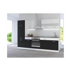 Küchen Preisbombe - Küche CORA I 280 Küchenzeile Küchenblock Einbauküche Weiss Schwarz
