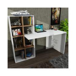 moebel17 Schreibtisch Schreibtisch Win Weiß Walnuss