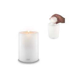 Qult Teelichthalter Qult Teelicht-Halter Trend 10cm Dauerkerze Kunststoff-Kerze Teelichtkerze in schwarz und weiss weiß 15 cm
