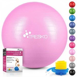 TRESKO Gymnastikball, Yogaball mit GRATIS Übungsposter inkl. Luftpumpe - Fitnessball BPA-Frei, Sitzball Büro, Sitzball Anti-Burst, 300 kg Belastbarkeit 55 cm