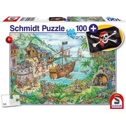 Schmidt Spiele - Puzzle - In der Piratenbucht mit add on (Piratenflagge) 100 Teile