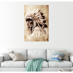 Posterlounge Wandbild, Alter Indianer mit Federschmuck 60 cm x 90 cm