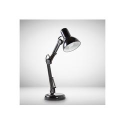 B.K.Licht Schreibtischlampe Draco, LED Tischlampe schwarz Metall Retro Schreibtisch-Leuchte drehbar & schwenkbar E14