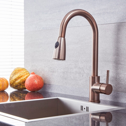 Küchenarmatur mit ausziehbarer Spülbrause – geölte Bronze - Como