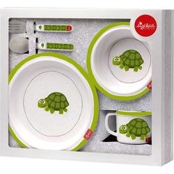 Sigikid Kindergeschirr-Set Schildkröte, Melamin, Edelstahl