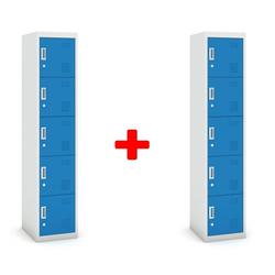 Fünftüriger schrank, zylinderschloss, 1800 x 380 x 450 mm, grau/blau,