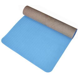 Get Fit Cork TPE Yoga - Yogamatte Blue/Brown