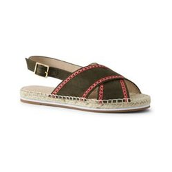 Espadrille-Sandalen, Damen, Größe: 37.5 Normal, Grün, Baumwolle, by Lands' End, Safari Grün - 37.5 - Safari Grün