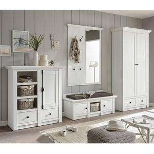 Garderobe Westerland - Landhaus Pinie Weiß - Set 3