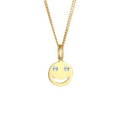 Elli Elli Halskette Smiley Face Emoji  Kristalle 925 Silber