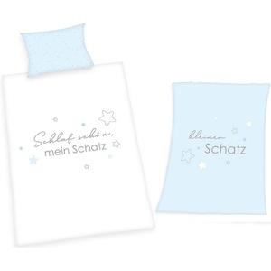 Babybettwäsche Kleiner Schatz - Baby-Bettwäsche-Set und Mikrofaser-Flauschdecke für Jungen von Herding, Baby Best, 100% Baumwolle