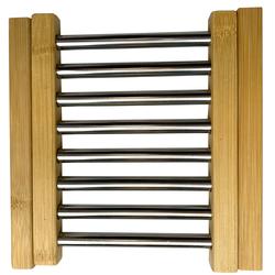 Untersetzer aus Holz und Metall für Töpfe und Pfannen, 21,5 x 22 cm, ausziehbar