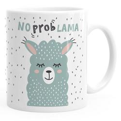 MoonWorks Tasse Kaffee-Tasse mit Spruch No Prob Lama Motiv lustig Bürotasse lustige Kaffeebecher MoonWorks®