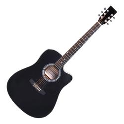 Classic Cantabile WS-10BK-CE Westerngitarre schwarz mit Tonabnehmer