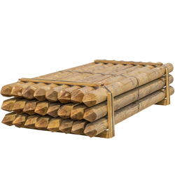24x VOSS.farming Holzpfähle rund, Zaunpfahl Holz, Kesseldruckimprägniert Klasse 4, 250cm x 140mm