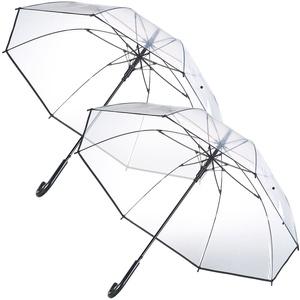 2er-Set transparente Stock-Regenschirme, Stahl & Fiberglas, Ø 100 cm