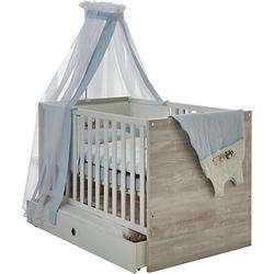 Kinderbett Justus, 70 x 140 cm, Vintage Pinie-Grau Nb/ Weiß
