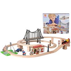 Eichhorn Spielzeug-Eisenbahn Bahnset mit Brücke, 54-tlg., (Set, 54-tlg), aus Holz; Made in Europe