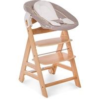 HAUCK Beta+ natur inkl. Newborn Set Stretch beige + Essbrett +  Sitzpolster