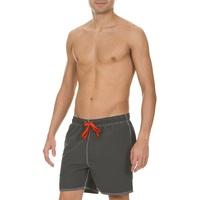 Arena Herren Badeshortss Fundamentals Solid Boxer (Schnelltrocknend, Kordelzug, Weiches Material), grau (Asphalt-Red), S