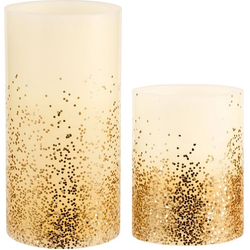 Pauleen LED-Kerze Golden Glitter (Set, 2-tlg), Wachskerze, Timer, elfenbein/Glitzer gold