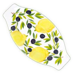 Lashuma Servierteller Zitrone Olive, Keramik, Keramikschale flach, Servierplatte 38x19