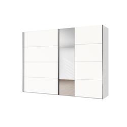 Express Solutions Schwebetürenschrank mit Spiegel weiß 250 cm x 216 cm x 68 cm