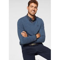 Gant V-Ausschnitt-Pullover aus reiner Lammwolle blau 4XL (60)