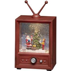 Konstsmide 4372-000 Fernseher mit Weihnachtsmann und Kind Warmweiß LED Bunt wählbare Energieversor