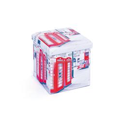 ebuy24 Aufbewahrungsbox Sanne Aufbewahrungsbox Hocker, faltbar mit Deckel, 38 cm x 38 cm x 38 cm