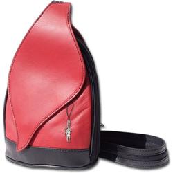 FLORENCE Cityrucksack D2OTF602X Florence Leder Tasche Damen Rucksack, Damen Rucksack, Tasche aus Echtleder in rot-schwarz rot