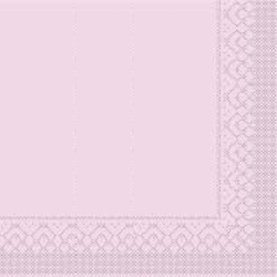 Mank Tissue Basics Servietten, 33 x 33  cm, 1/4 Falz, 3-lagig, 1 Karton = 6 x 100 Stück = 600 Servietten, rosa