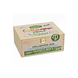 Saatgut-Holzbox Grillgemüse, 7 Saatgut-Sorten
