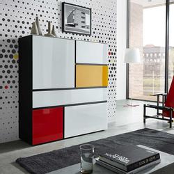Wohnzimmer Highboard in Weiß Bunt modern