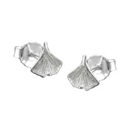 Gallay Paar Ohrstecker Stecker 7mm Ginkgoblatt glänzend Silber 925 (inkl. Schmuckbox), Silberschmuck für Damen