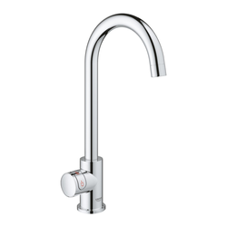 Grohe C-Spout Chrome Single Lever Instant Boiling Water Kitchen Tap and M Size Boiler - Red Mono