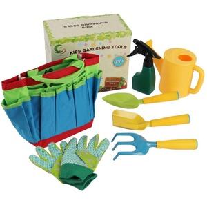 Kinder Gartengeräte Set, Gartenwerkzeug Kinder Metall, Kinderspielzeug, Inklusive Sprinkler Kesselschaufelset Gartenhandschuhe Gartentasche, Für Kinder Kleinkinder Jungen Mädchen