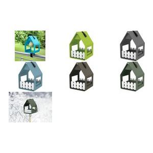 emsa Vogel Futterhaus LANDHAUS, Kunststoff, altblau ganzjährig nutzbar: Futterhaus und Vogelbad, witterungs - 1 Stück (517474)