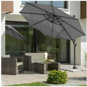 Schneider Schirme Ampelschirm Rhodos Junior, mit Schutzhülle, ohne Wegeplatten grau