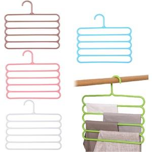 LWZko 5 Stücke Magic Hanger, Hosen Kleiderbügel, Kleiderbügel Hosenbügel, 5 Schichten PP Kunststoff rutschfest Platzsparende Hosenbügel für Hosen, Schal, Krawatten, Handtücher (5 Farben)