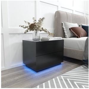 Meerveil Nachttisch, LED Nachttisch, Kommode, LED Nachtkommode, Hochglanz-Nachttisch mit USB-LED-Lampe, 60x39x45cm schwarz