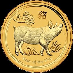 2 Unzen Gold Lunar II Schwein 2019