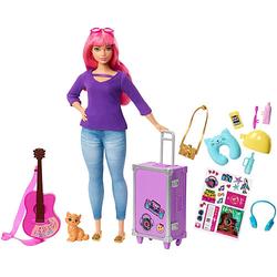 Barbie Daisy Reise Puppe (pinke Haare) mit Zubehör, Anziehpuppe, Modepuppe
