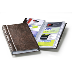 DURABLE Visifix® Visitenkartenalbum für 200 Visitenkarten, Kartenbuch mit Schraubverschluss zum Aufbewahren von Visitenkarten, Maße: 145 x 255 mm, braun