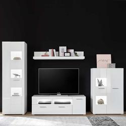 Wohnzimmerwand in Weiß Hochglanz modern (4-teilig)
