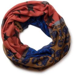 styleBREAKER Loop Loop mit Sterne Peace Totenkopf Muster Loop mit Sterne Peace Totenkopf Muster blau
