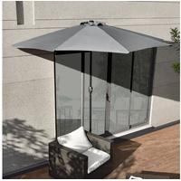 [casa.pro]® Sonnenschirm 300 x 150 cm grau halbrund