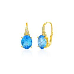 Stella-Jewellery Paar Ohrstecker 585 Gold Ohrringe Blautopas 6,16ct./ Diam. 0,07ct., Blautopas ca. 6,16 ct. / 24 x Diamanten zus. 0,07ct.